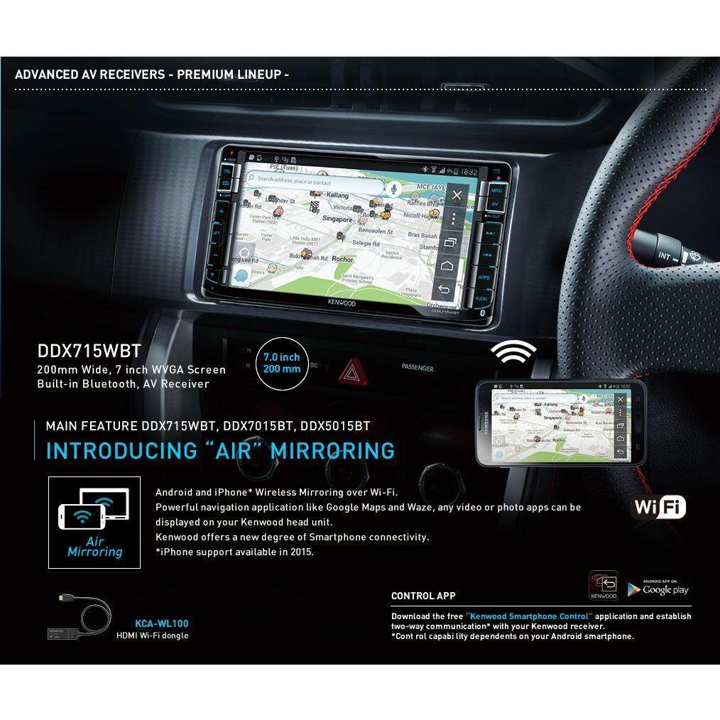 Kenwood Double Din Player DDX715WBT 7inch 2 Phone Bluetooth , Android  Iphone 1 5A Charging Mirror Link Ready