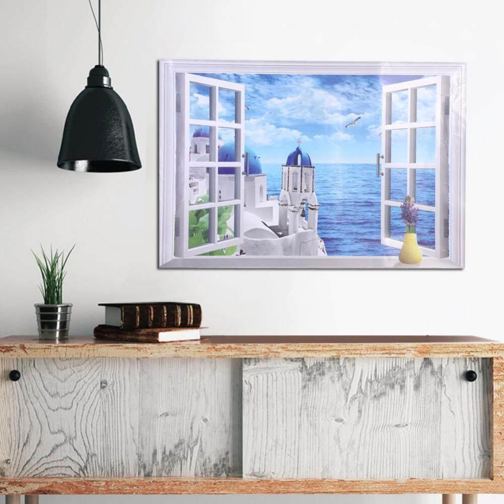 3D Large Removable Beach Sea Window Scenery Wall Sticker Self Adhesive Wallpaper Aegean Sea
