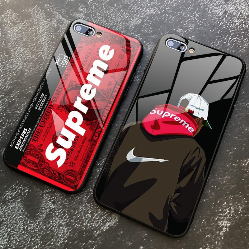 new product 2af34 95225 OPPO F1S R9S F3 PLUS A57 F3 fashion Supreme pattern Tempered Glass Case  with Instagram SUP Design Shockproof back view glass Casing for Oppo A3S F9  F5 ...