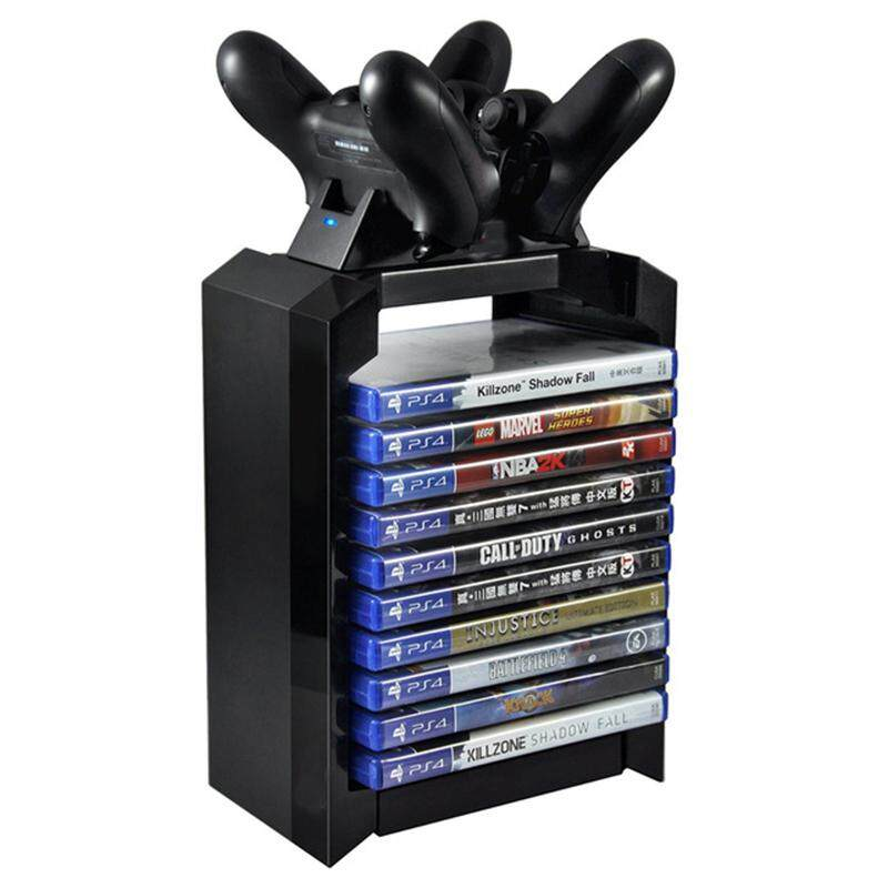 FC Game Disk Tower Vertical Stand for PS4 Dual Controller Charging Dock Station for PlayStation 4 PRO Slim