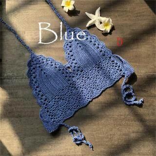 Bikini Phụ Nữ Crochet Ren Bralette Đan Áo Ngực Bãi Biển Bikini Halter Crop Tắm Tops thumbnail