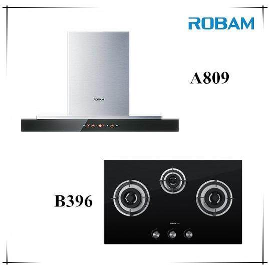 Robam A809 Chimney Hood + B396 3 Burners Glass Hoob