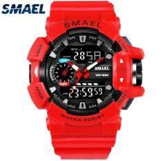 SMAEL Men's Sport Watches Fashion Casual LED Digital Dual Display Electronic Quartz Watch Men 50M Waterproof Military Wrist Watch