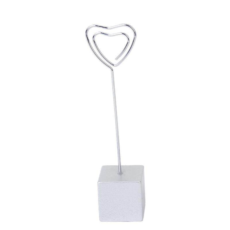 Silver Cube Resin Base Map Image Wire Clip Shape Heart Holder Hanger