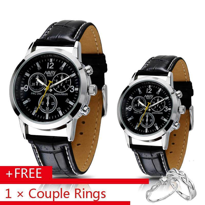 Nary 6033 2Pcs Couple Watch Brand Watches Men Luxury Quartz Calendars Leather Strap Casual Waterproof Men Women Watches Wristwatch