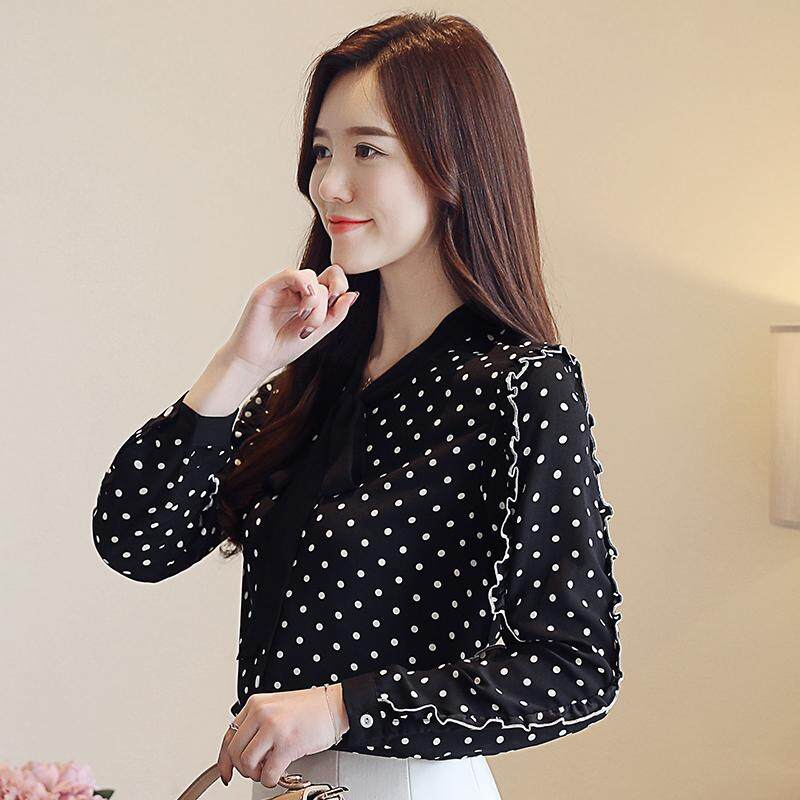 cf346b5e75b7 Product details of Chiffon blouses and women's autumn v neck new shirt with  a circular polka neck top with a bow tie korean fashion large size elegant  shirt ...
