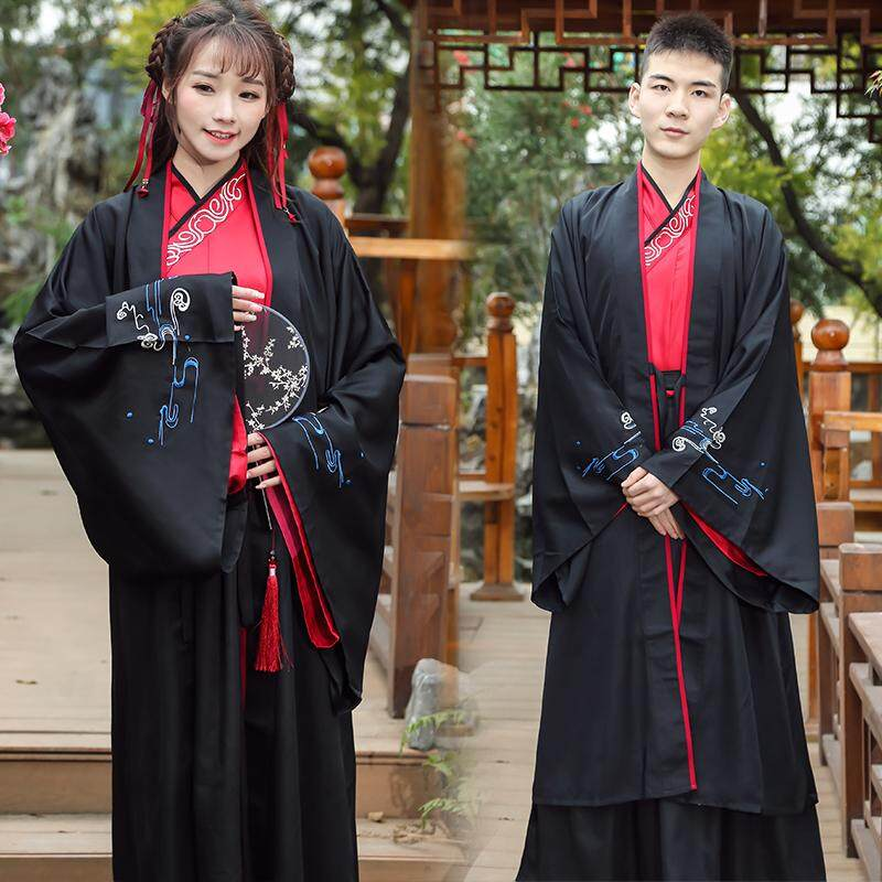 Chinese Clothing Men And Women Couples Big Sleeve Coat Cross from Wide Cuff Ancient Costume Chinese-style han dynasty Element CP Group Service