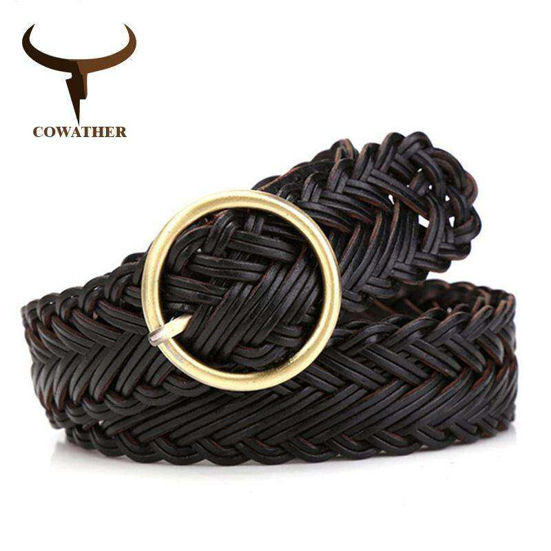 Cowather High Quality Women Belt Knitted Leather Belts For Women Good Pin Buckle Female Strap Newest Desgin Original Brand By Town For Like.