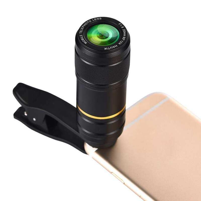 Hautik HK-005 Universal 12X20 Mm F1.8 Lensa Telefoto dengan Klip, untuk iPhone, Galaxy, Sony, Lenovo, HTC, Huawei, Google LG Xiaomi, Earphone Smartphone dan Ultra Tipis Kamera Digital-Internasional