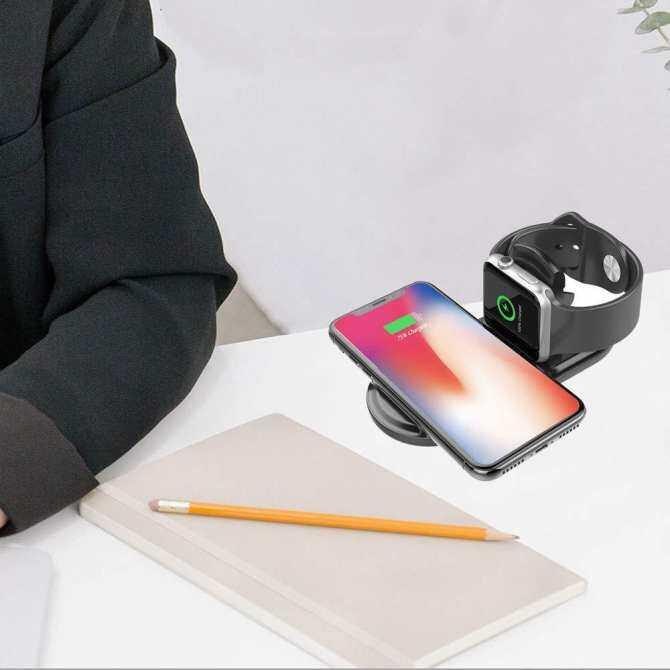 RD 2 trong 1 Sạc Không Dây QI Miếng Lót Sạc Nhanh cho iWatch 3 2 Sạc QI cho Sumsang S9 S8 iPhone 8 Plus X