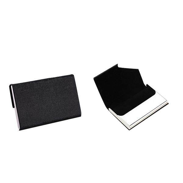 PU Leather Stainless Steel Name Business Card Case Holder Black