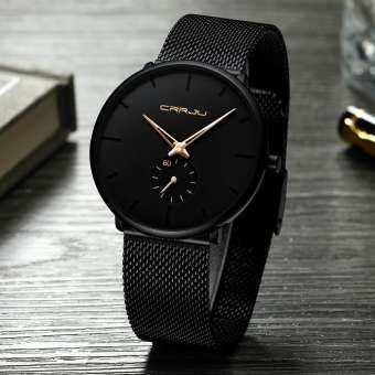 CRRJU 30 เมตรกันน้ำ Super Thin Men's นาฬิกาข้อมือธุรกิจสีดำนาฬิกาข้อมือใส่วันพักผ่อน-