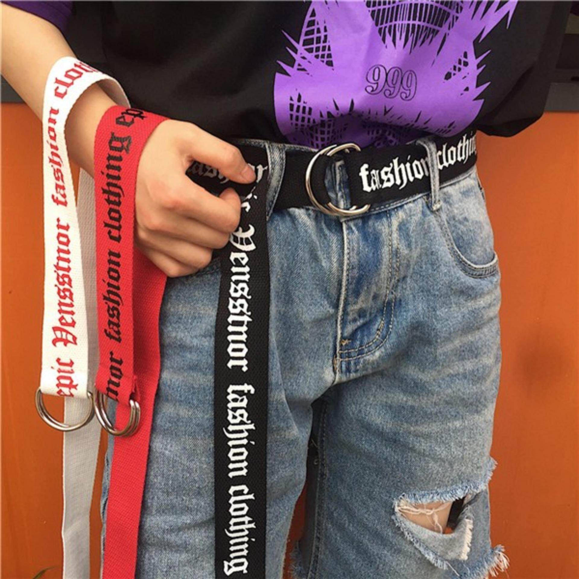 130cm Fashion Neutral Nylon Canvas Belt Printing Thai D Ring Double Buckle Belt