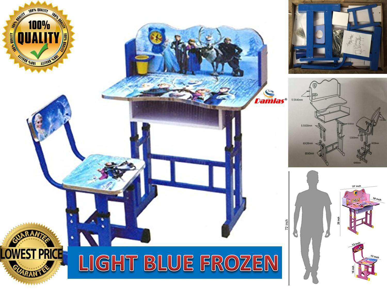 Study Table and Chair Kid Set with Cartoon Theme [ LIGHT BLUE FROZEN ]