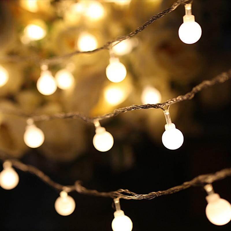 Christmas Lights.1 5m 3m 5m Solled Led String Lights Waterproof Warm White Ball Fairy Lights For Christmas Bedroom Parties 3v Battery Powered Charging Connector