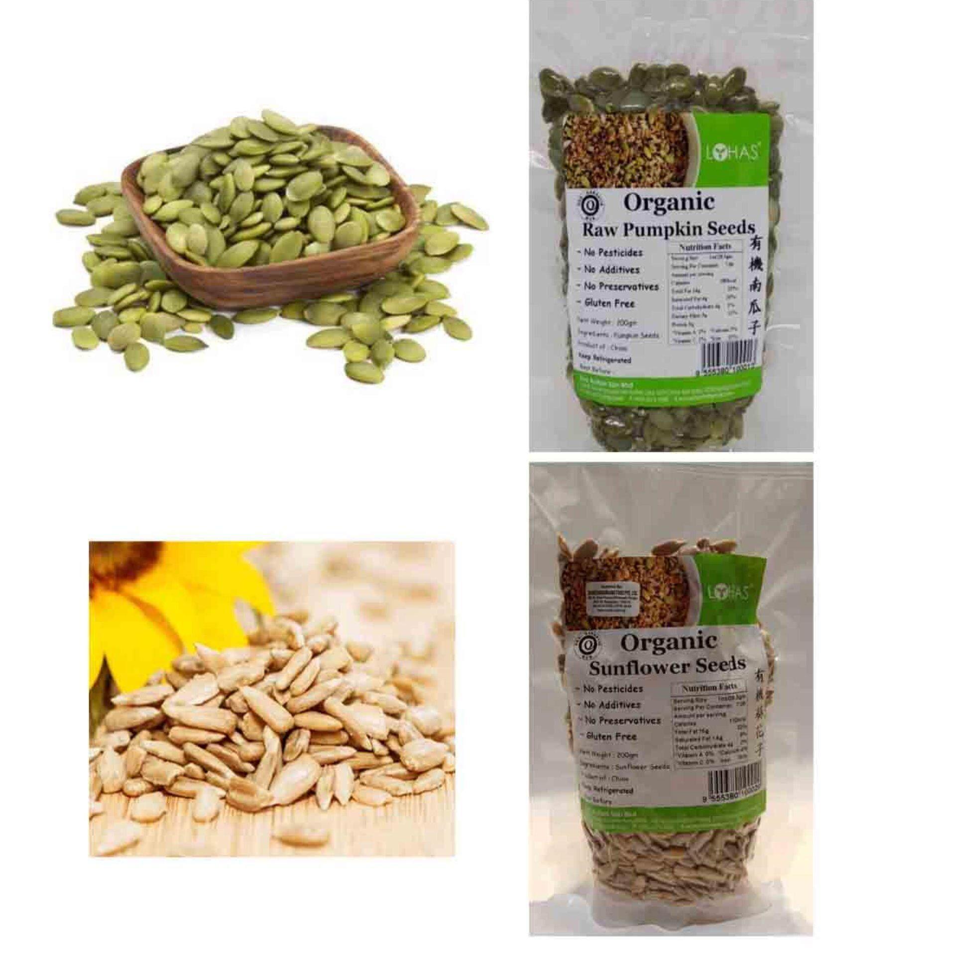 Lohas Organic Pumpkin Seeds 200g + Sunflower Seeds 200g (Gluten free)