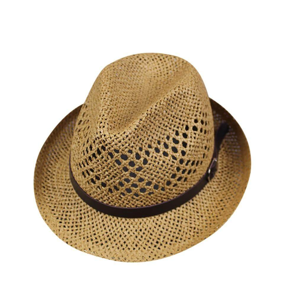 〖Aihid Store〗 COD Unisex Men Women Beach Straw Hat Jazz Panama Trilby Fedora Hat Gangster Cap