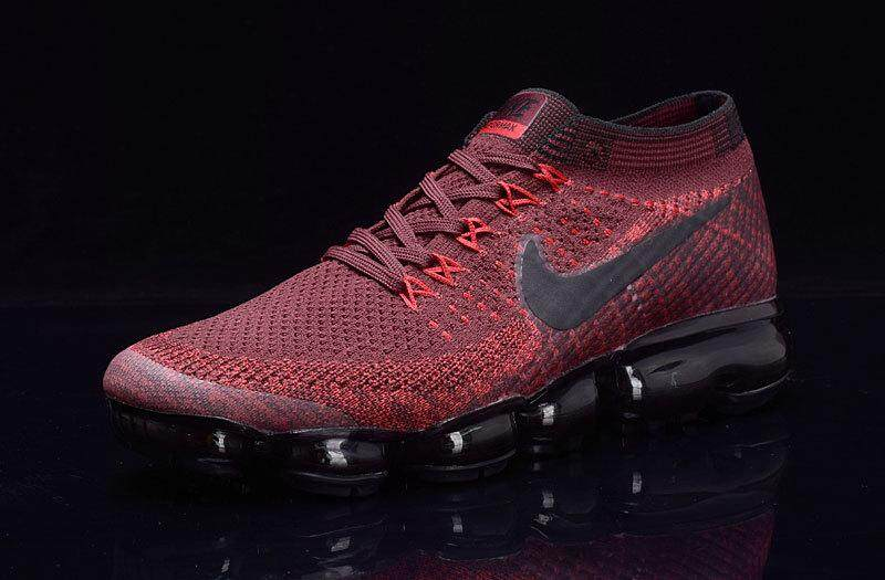 Nike Air VaporMax Flyknit 2 Women's Light Sport Sneakers Breathable Casual Running Shoes (Black/Wine Red)