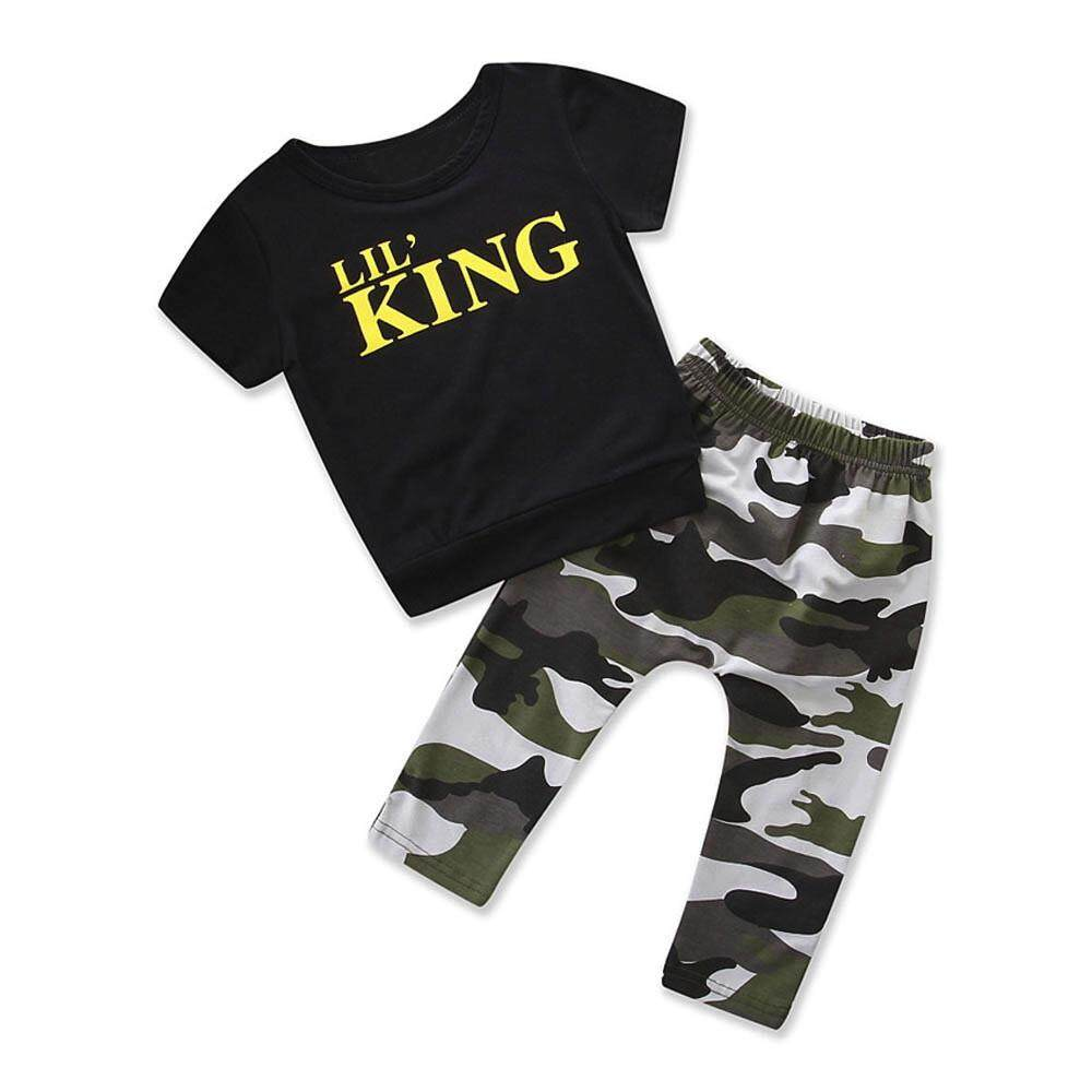 Toddler Kids Baby Boy Cute Letter T shirt Tops+Camouflage Pants Outfits Clothes