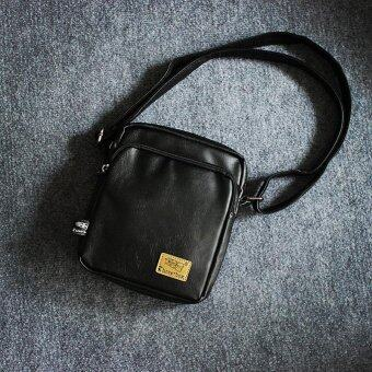 New Men Soft Leather Crossbody Bag Outdoor Leisure Satchel Business Phone Bag Travel Bag(Black)