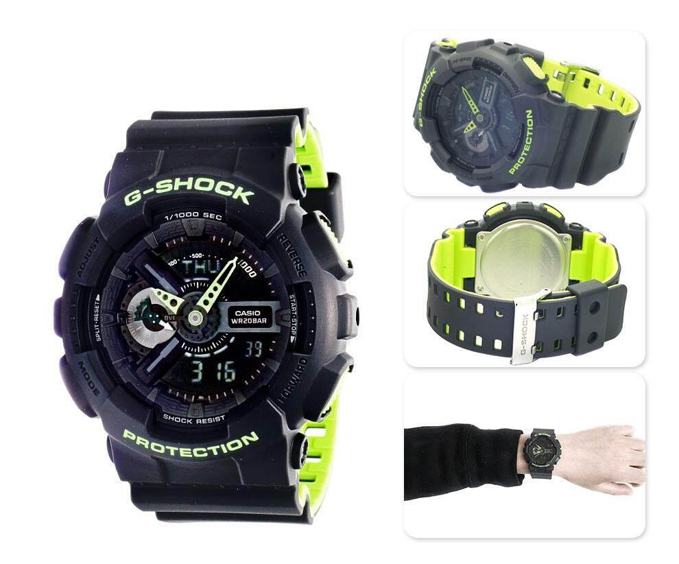 ยี่ห้อไหนดี  ยะลา 【 STOCK】Original _ Casio_G-Shock Duo W/เวลา 200M กันน้ำโลกเวลานาฬิกากีฬาไฟแอลอีดีอัตโนมัติ GA-110LN-8A