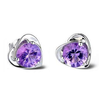 Women Love Heart Purple Rhinestone Silver Plated Ear Studs Earrings