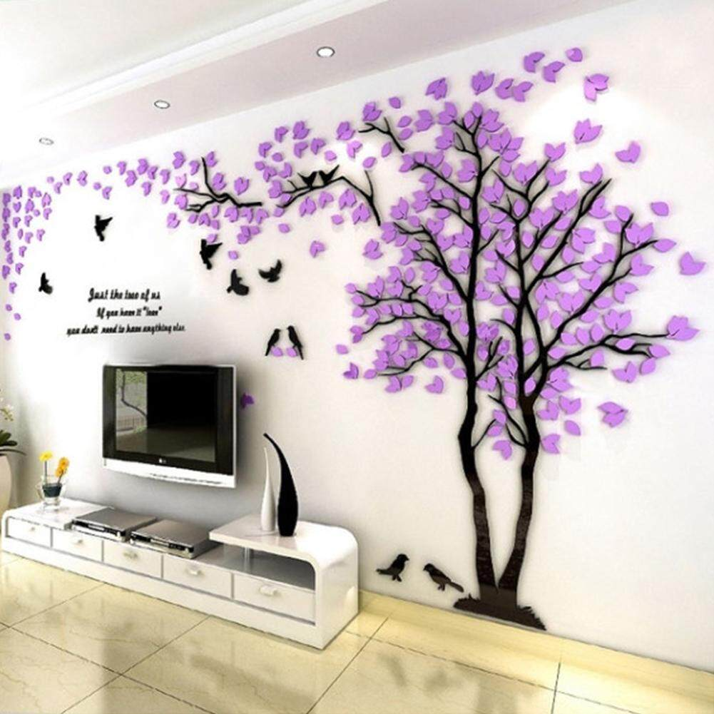 QD Small Lovers Tree 3D Wall Sticker Artistical Wall Stickers for Family Living Room Bedroom Wall Decoration