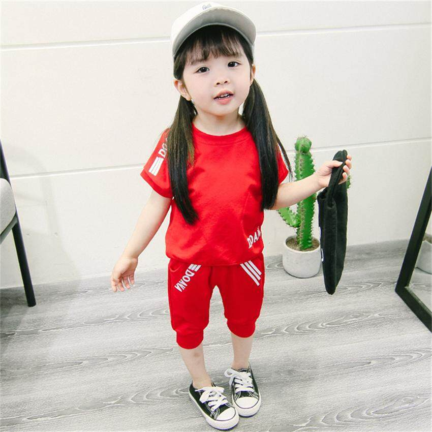 Children's Clothing 2018 Summer New Boys Printing Letter Leisure Sports Two Sets