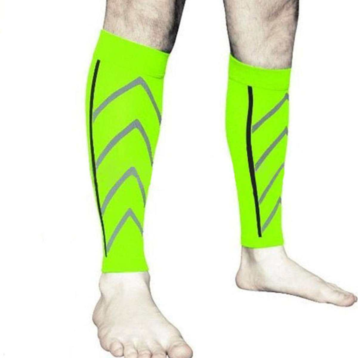 LumiParty Sports Running Fluorescent Shank Protective Cover Gradient Compression Stockings Stovepipe Pressure Covers Size:Free size