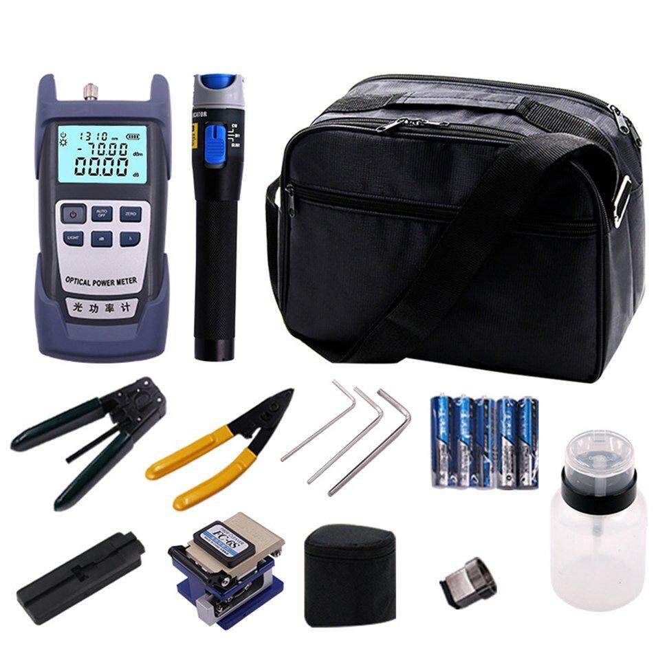 BGD Fiber Optic FTTH Tool Kit with FC-6S Fiber Cleaver and Optical Power Meter 5km Black & blue