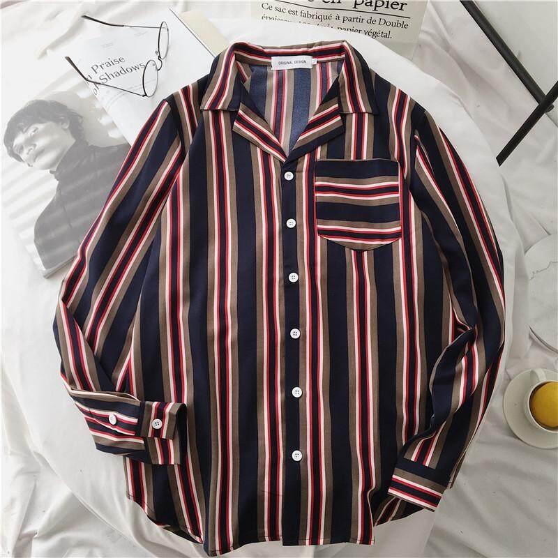 Ulzzang vintage celebrity inspired men long sleeve shirts vertical striped Women's blouses (Black reviews) - intl