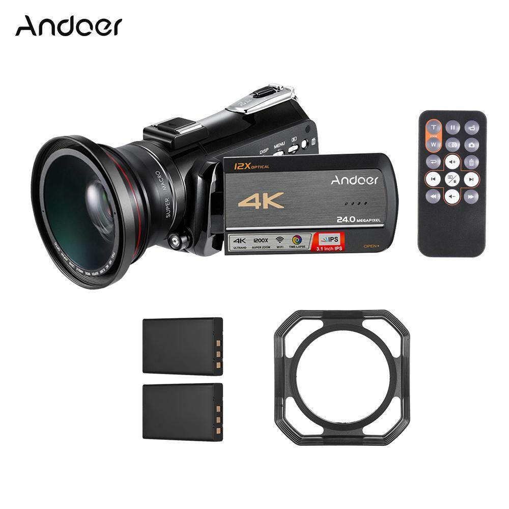 Andoer AC5 4K UHD 24MP Digital Video Camera Camcorder Recorder DV 3.1 Inch IPS Touchscreen 12X Optical Zoom Time-Lapse Face Detection Anti-shake WiFi Connection
