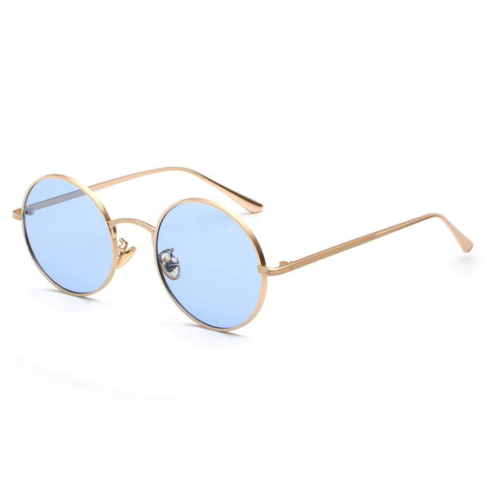 Gold Round Metal Frame Sunglasses Men Retro 2019 Summer Style Women Red Lens Sun Glasses Unisex Yellow Pink Blue Black