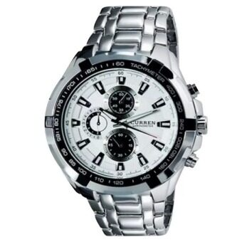 CURREN Stainless Steel Band Sport Analog Quartz Wrist Watch (White)