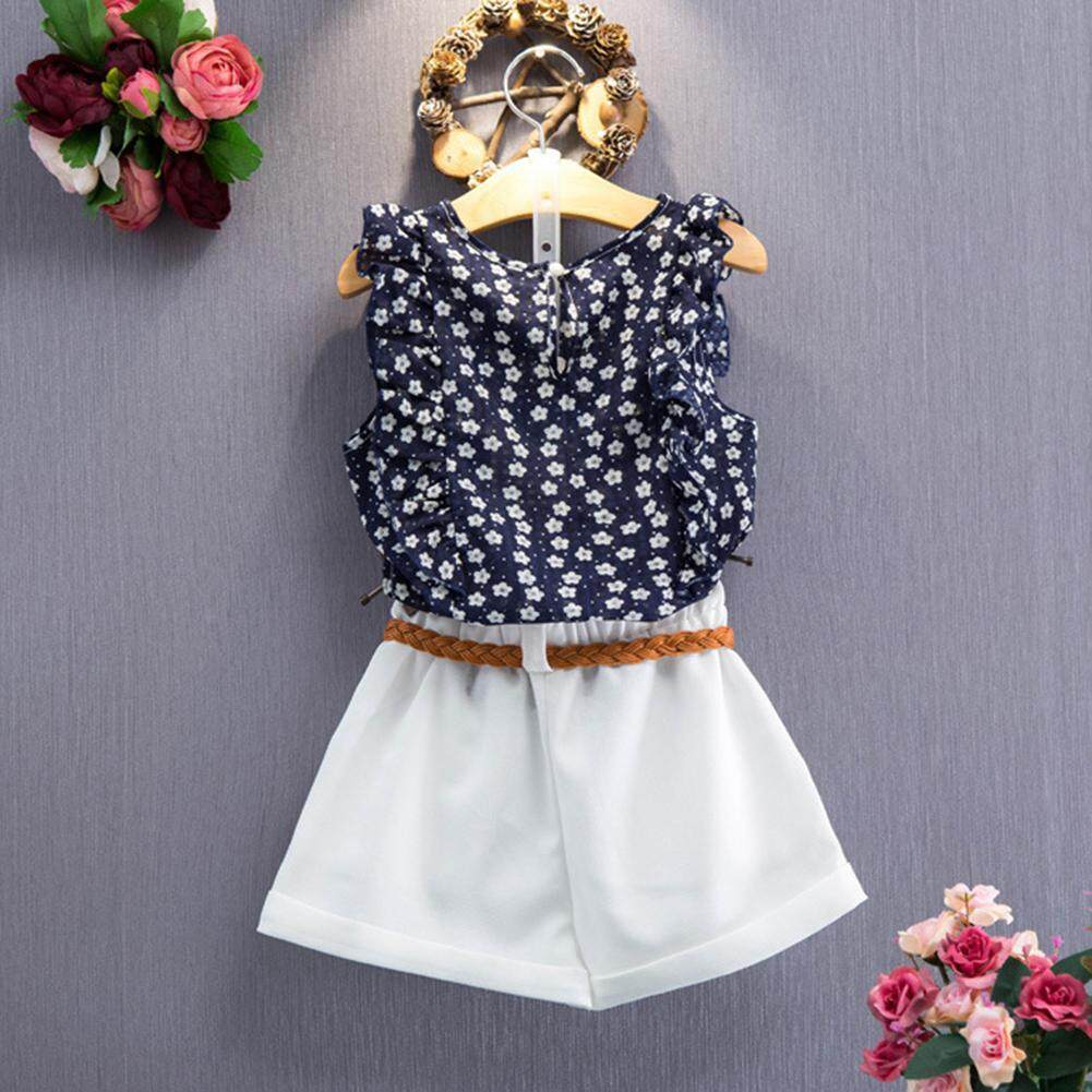 OS 2pcs/Set Lovely Girl Flower Pattern Suit T-shirt Sleeveless Tops + Shorts with Belt Clothes Set
