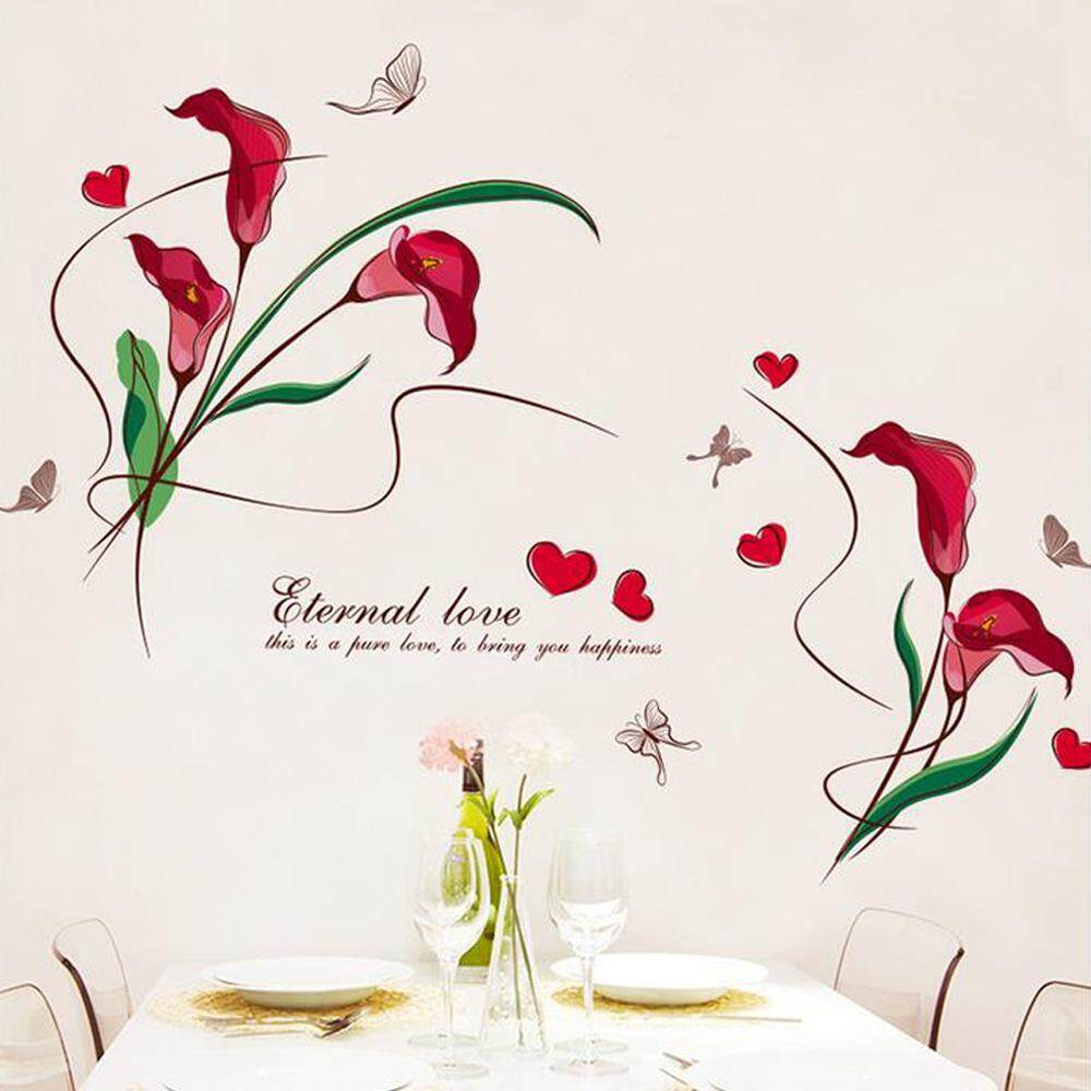 Red Flower Butterflies Heart-shape PVC Wall Decals DIY Home Sticker WallPaper Vinyl Wall arts Pictures Removable Murals For House Decoration Baby Living Rooms Bedroom Toilet