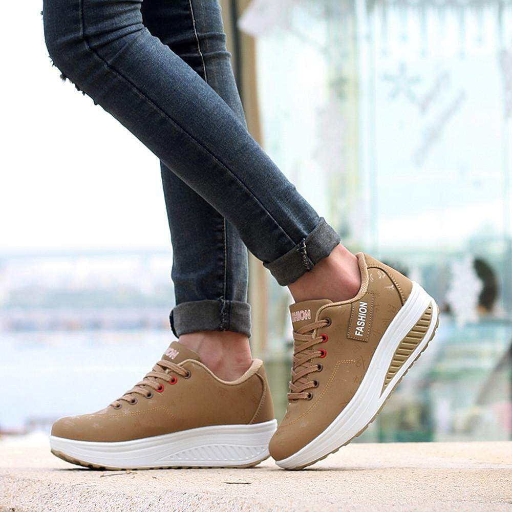 Women Casual Leisure Sport Fashion Walking Flats Height Increasing Swing Wedges Shoe รองเท้าส้นเตารีดทรงปิด