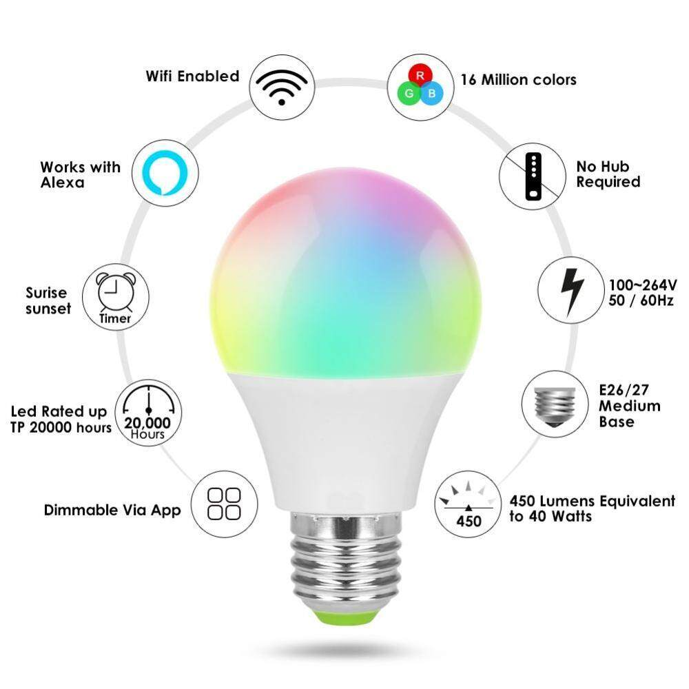 Versea WIFI Smart RGB Color Changing Light Bulb Smart wifi led Bulbs  Dimmable Lamp Base WIFI Smart Bulbs Work With Alexa and Google