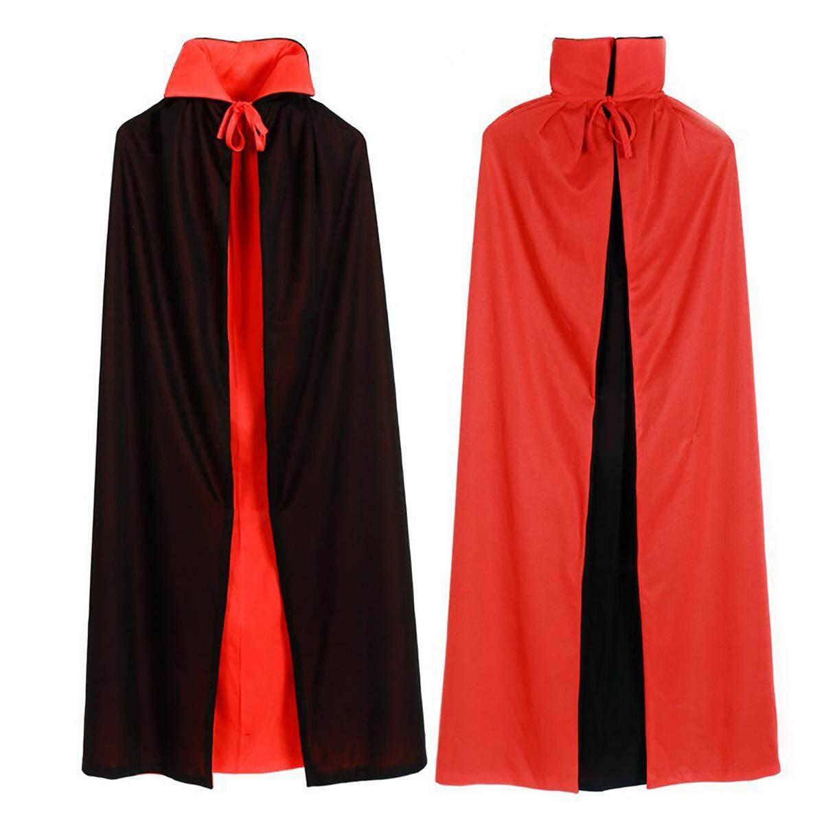 Halloween Vampire Black&Red Cloak Dracula Cape Adult Kids Cosplay Fancy Costume