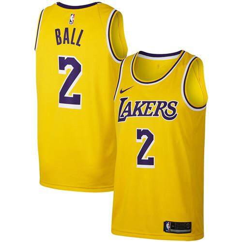 new product 5df80 c211c Brand NKE Official MENS Los Angeles Lakers Lonzo Ball #2 Gold Swingman  Basketball Jersey - Icon Edition S-2XL
