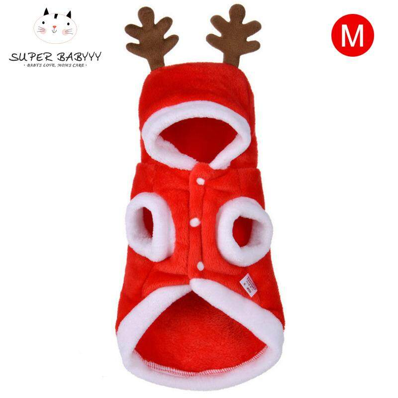 SBY Pet Dog Red Christmas Cartoon Elk Hooded Coat Jacket Winter Dog Cat Coat