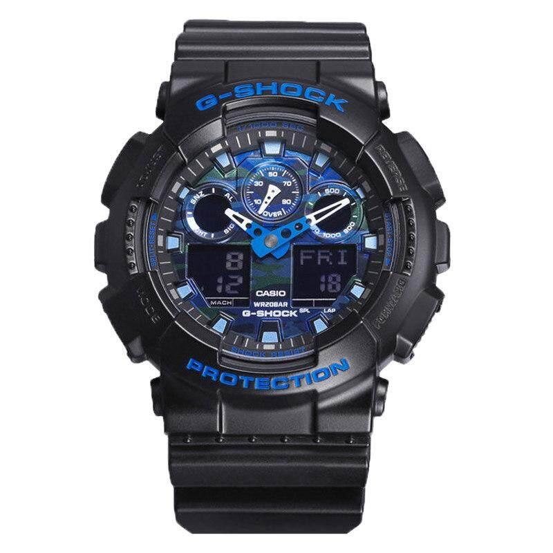 ยี่ห้อนี้ดีไหม  ขอนแก่น 【 STOCK】Original _ Casio_G-Shock GA-100 Duo W/เวลา 200M กันน้ำกันกระแทกและกันน้ำโลกนาฬิกากีฬาไฟแอลอีดีอัตโนมัติ Wist นาฬิกากีฬาสำหรับ MenGA-100CB-1A Camou