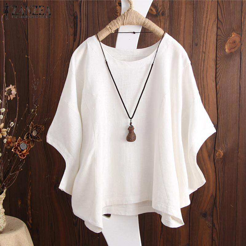 ZANZEA Women Casual Loose Cotton Blouse Tee T Shirt Basic Plus Size Top - intl