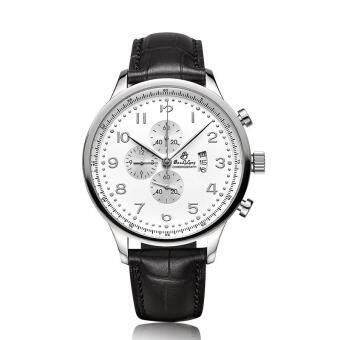 jiechuan Polaroid long stainless steel genuine quartz watch Mens watch belt business casual fashion watch waterproof calendar (SilverWhite)