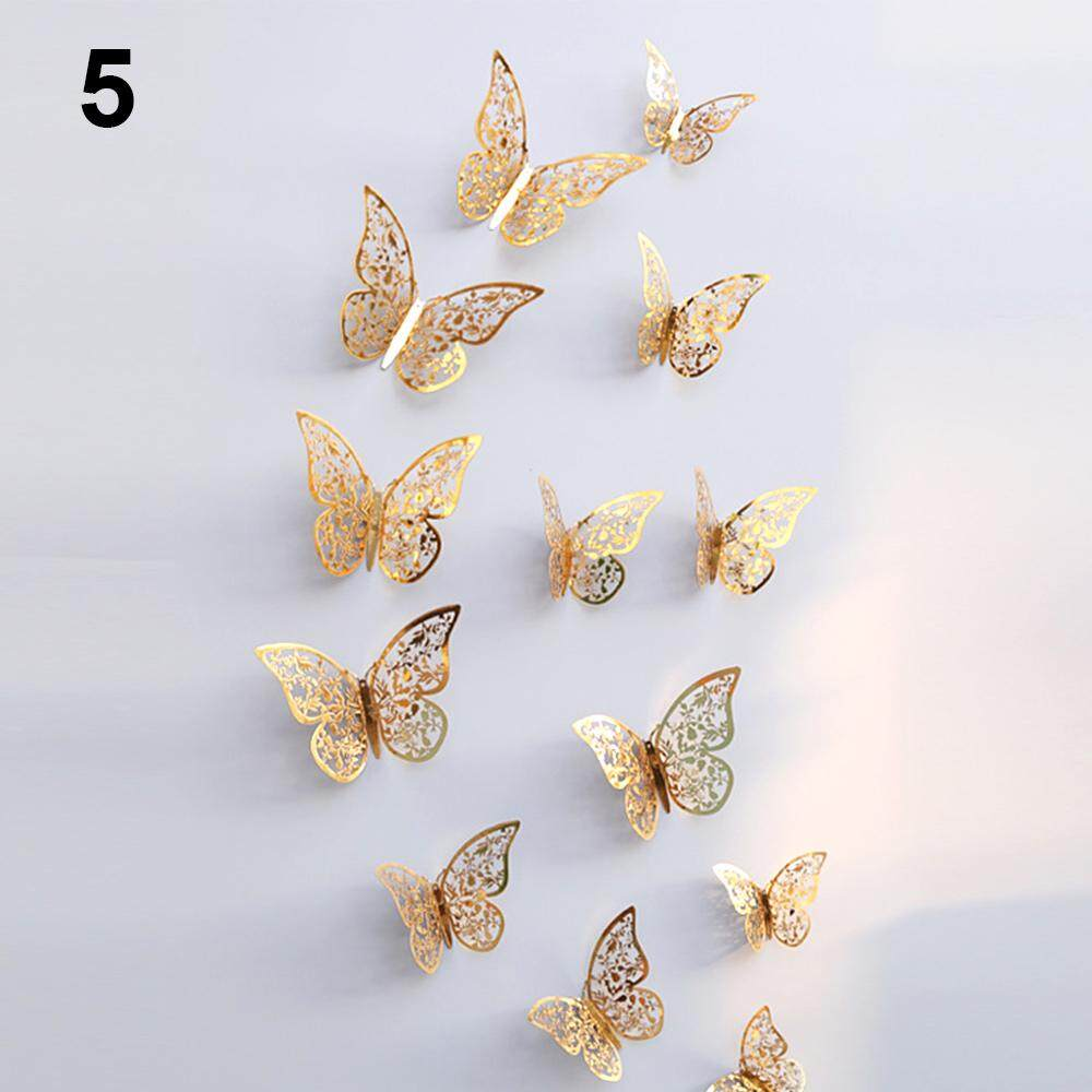 12Pcs Wallpaper Wall Stickers 3D Butterflies Hollow 3 Style Poster Decals Metallic Finish Gold Pattern#3