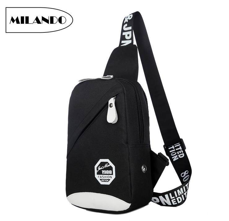 MILANDO Man Men Nylon Crossbody Bag Chest Shoulder Sling Pouch with Earphone Hole Beg Lelaki (Type 2) image on snachetto.com