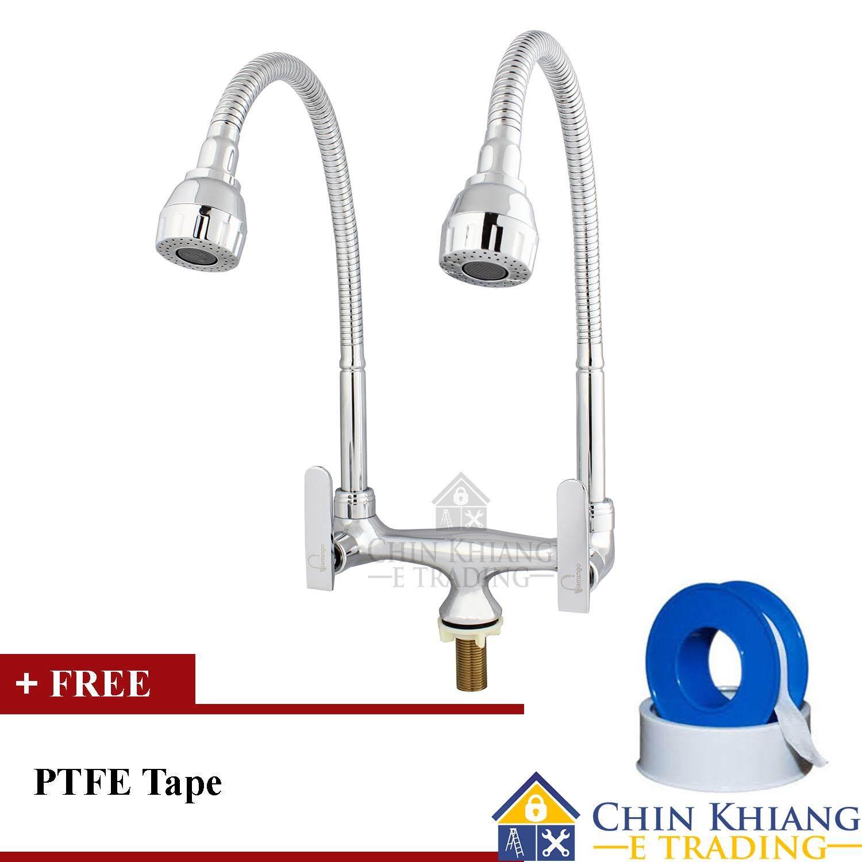 Flamingo Fmg883 Pillar Mounted Flexible Double Kitchen Sink Water