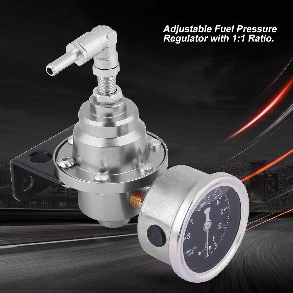 justgogo Universal Aluminum Car 160psi Adjustable 1: 1 Fuel Pressure  Regulator Oil Gauge Kit Silver