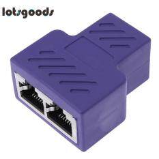 RJ45 1 to 2 Female Port Splitter Adapter LAN Ethernet Plug Socket(Purple)
