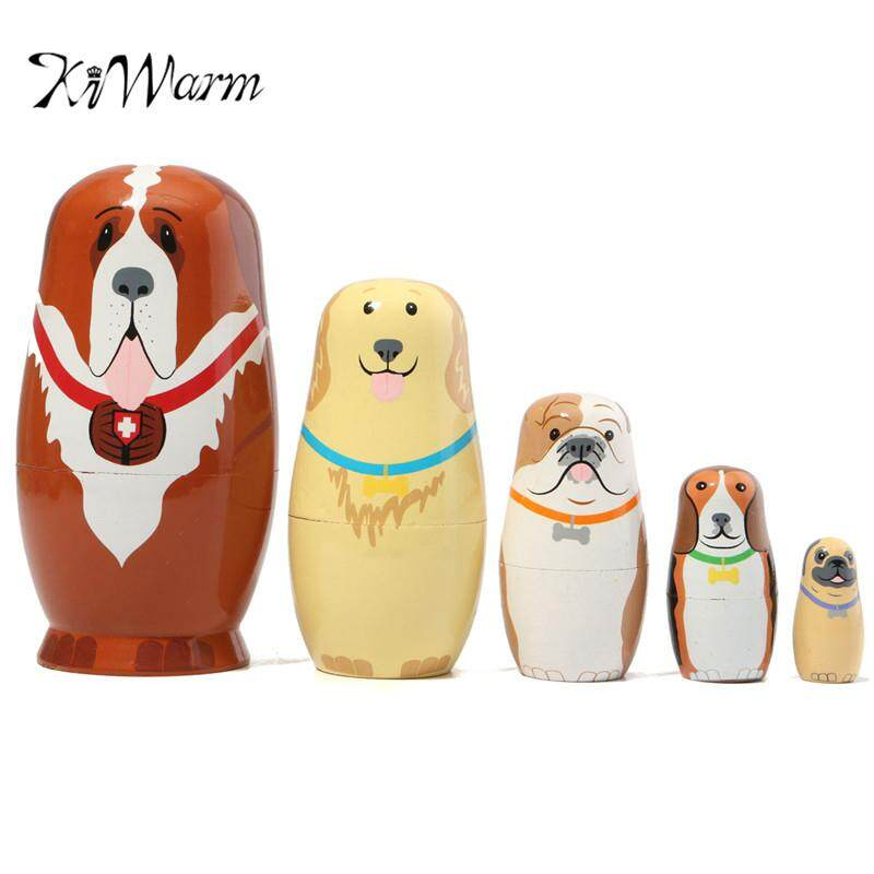 5PCS Set Russian Wooden Nesting Dolls Dogs Matryoshka Hand Painted Gift Basswood